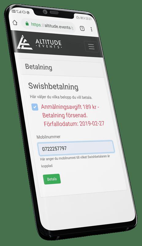 Betalning sker genom kort eller Swish. Systemet håller själv koll på förfallodatum och påminner resenären